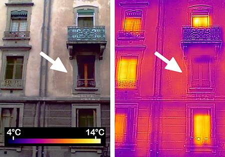 Façade de bâtiment ancien avec plusieurs fenêtres vues en infra-rouge